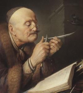 Gerrit_Dou_-_Scholar_sharpening_a_quill_pen